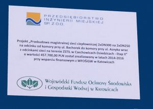 Przebudowa magistralnej sieci ciepłowniczej 2XDN 300 na 2xDN 250 na odcinku od komory przy ul. Bachorek do komory przy ul. Asnyka wraz z odcinkami sieci na terenie ZSTiL w Czechowicach-Dziedzicach- Etap II
