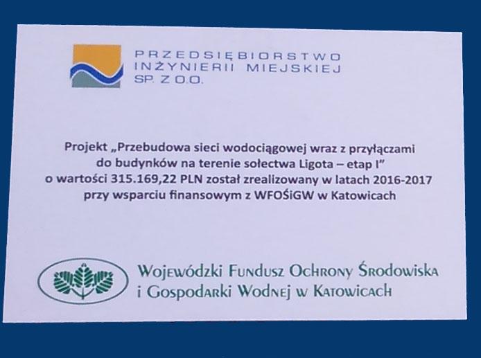 Przebudowa sieci wodociągowej wraz z przyłączami do budynków na terenie sołectwa Ligota- etap 1