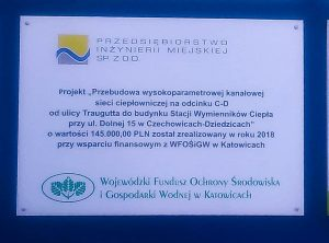 Przebudowa wysokoparametrowej kanałowej sieci ciepłowniczej na odcinku C-D od ulicy Traugutta do budynku Stacji Wymienników Ciepła przy ul. Dolnej 15 w Czechowicach-Dziedzicach